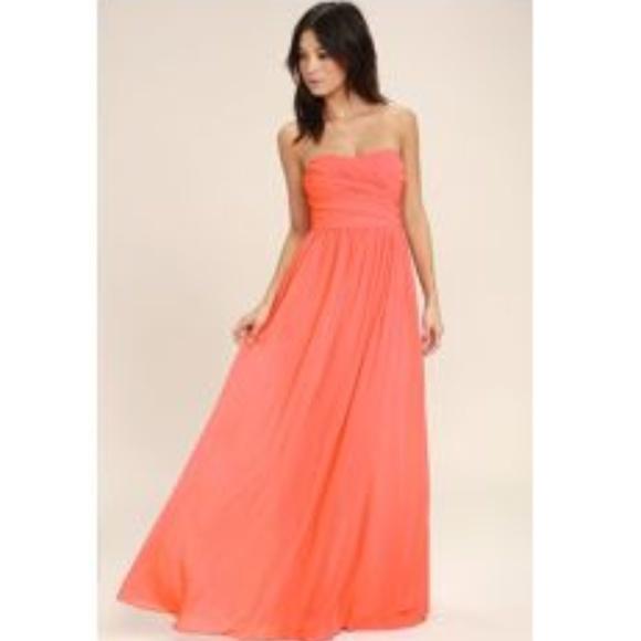 7b058ca91020 Lulu's Dresses | Lulus All Afloat Coral Pink Strapless Maxi Dress ...